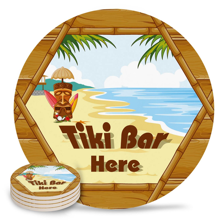 Arena playa olas decoración de ventanas de madera Mantel Individual cerámica bebidas posavasos Mesa decoración absorbente humedad