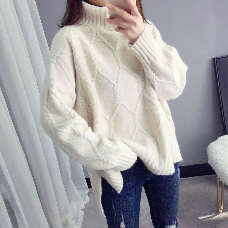 Женский свитер с высоким воротником, женский толстый Свободный пуловер с высоким воротником, свитер, женская повседневная трикотажная одеж...