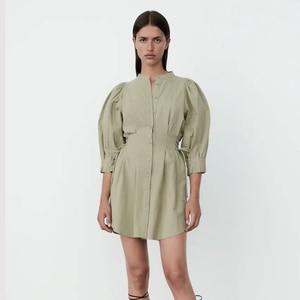 Uniera 2021 Za women's clothing autumn European and American versatile women's clothing autumn new tie Mini Dress