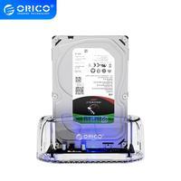ORICO 3,5 дюйма прозрачная док-станция для жесткого диска SATA к USB 3,0 5 Гбит/с док-станция для жесткого диска Поддержка 2,5/3,5 HDD адаптер