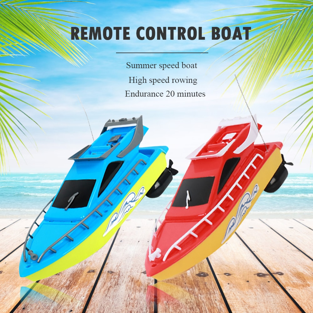 RC Boat Kids Toy Super Mini Speed Remote Control Ship 2 Colors 20M High Performance Electric Boats T