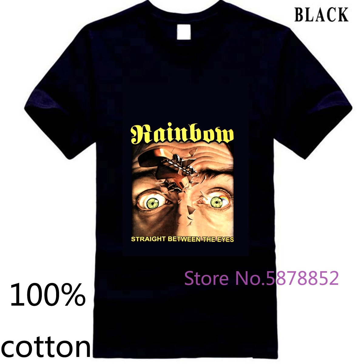 Arco Iris recto entre los ojos Negro HARD ROCK BLACKMORE DEEP PURPLE hombres camiseta tops camisetas 100% algodón