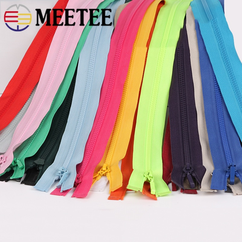Meetee 2/5 Uds 70cm abierto-cremallera 3 # resina Zip para chaqueta cremalleras DIY textil reparación, costura Accesorios