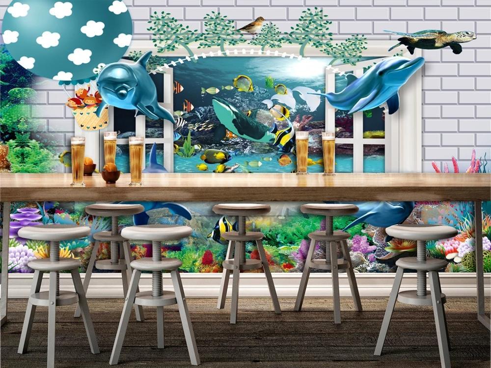 3DCustom large mural  wallpaper Nordic cartoon creative brick dolphin child bedroom mural TV back wall decor deep 5D embossed
