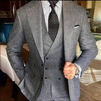 2020 new grey men suit for wedding tweed blazer double breasted vest lapel tuxedos two button tweed wedding suits