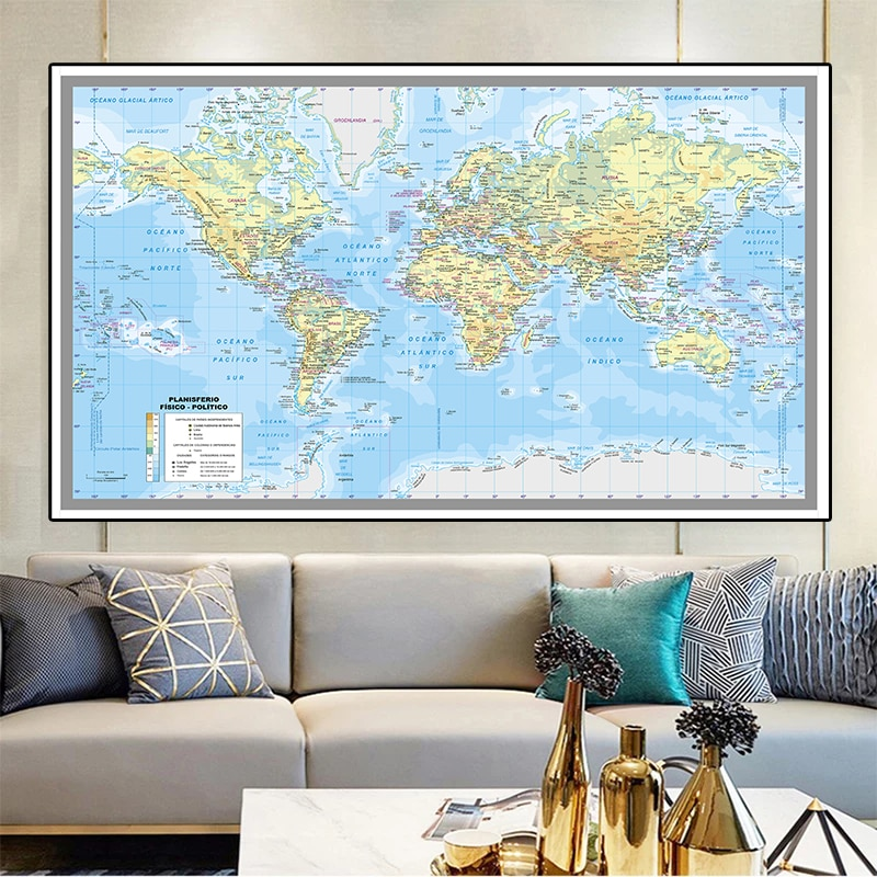 225*150 cm  In Spanish The World City Map Non-woven Canvas Painting Large Poster and Prints Home Decoration School Supplies