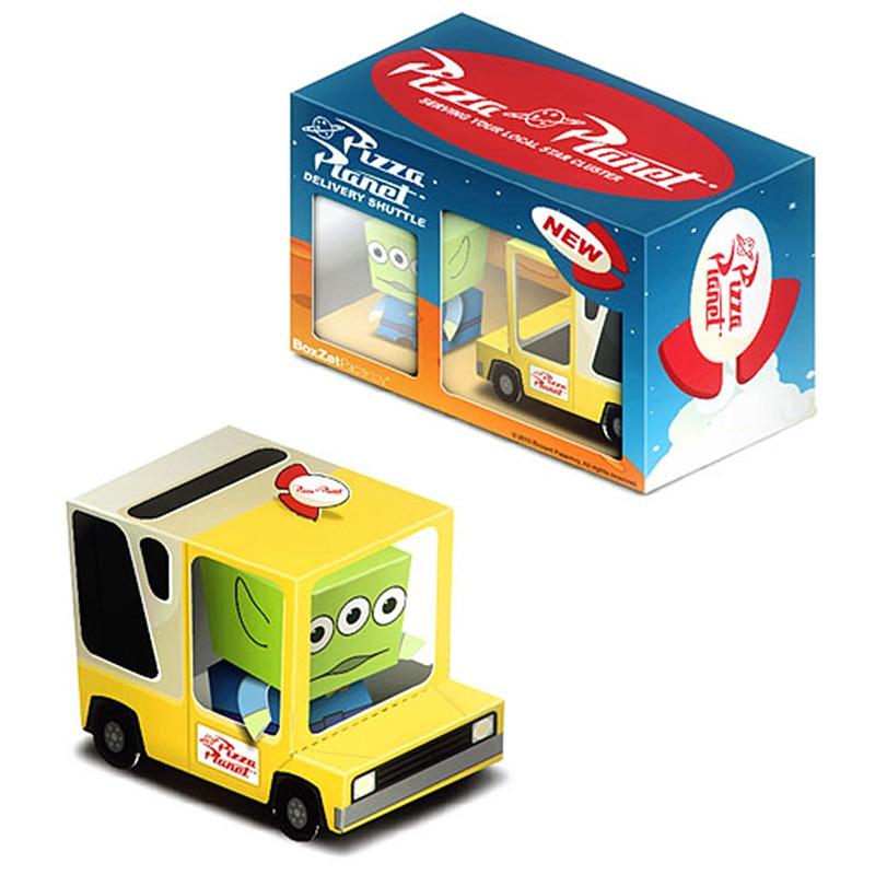 Caja de coche Pizza Planet Van adornos Cubee plegable lindo papel 3D modelo manualidades hágalo usted mismo niños adultos hecho a mano juguetes artesanales ER-039