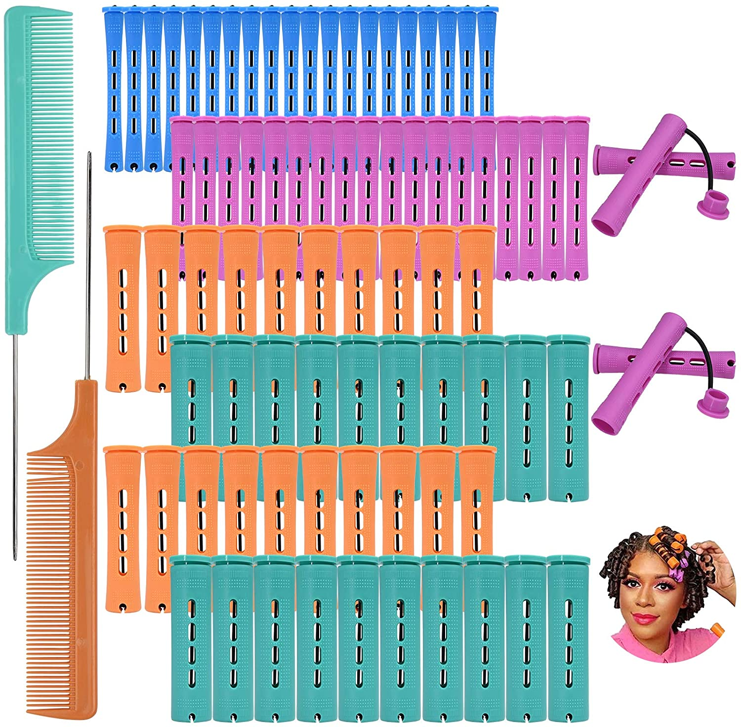 80Pcs Hair Perm Rods Set Cold Wave Perming Rods Hair Roller Curlers Salon Curling Rollers Hairdressing Styling Tools