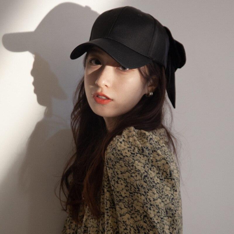 Кепка женская с бантом, мягкая бейсбольная кепка для улицы, в Корейском стиле, с плиссировкой, черная, летняя