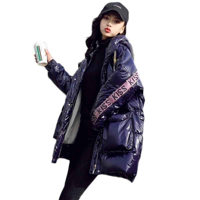 2019 Winter Jacket Women Fashion Glossy Down Jacket Hooded Warm White duck down coat Female's Loose Plus size Parka Outwear