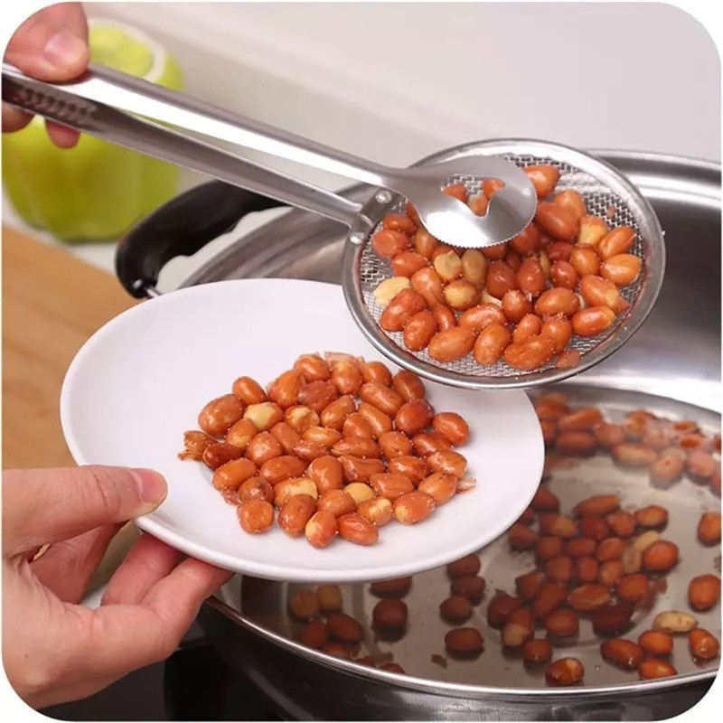 Accesorios de cocina cuchara con filtro y pinza herramientas de cocina de alimentos filtro de aceite de acero inoxidable abrazadera colador cocina Gadgets