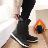 women snow boots mid calf waterproof slip on platform winter boots plush lining keep warm female winter shoes woman footwear