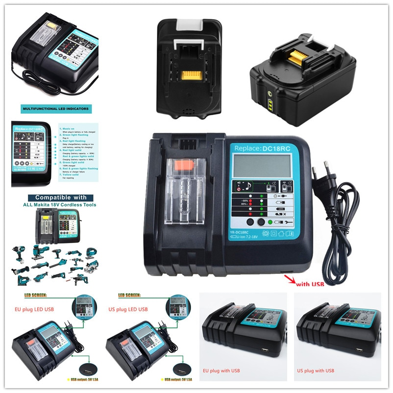 new dc18rct li ion battery charger 3a charging current for makita 14 4v 18v bl1830 bl1430 dc18rc dc18ra power tool Li-ion Battery Charger for Makita Charger 18V 14.4V BL1860 BL1850 BL1830 BL1430 DC18RCT DC18RC Power tool 3A Charging Current
