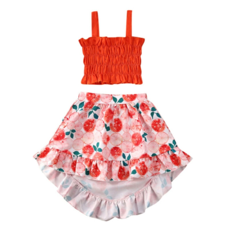 toddler baby girl kid outfit set tops t shirt tank floral skirt beach dress 1 5y AA 2PCS Toddler Clothing Flower Kid Baby Girl Summer Clothes Crop Tops Ruffle Vest Floral Skirt Set