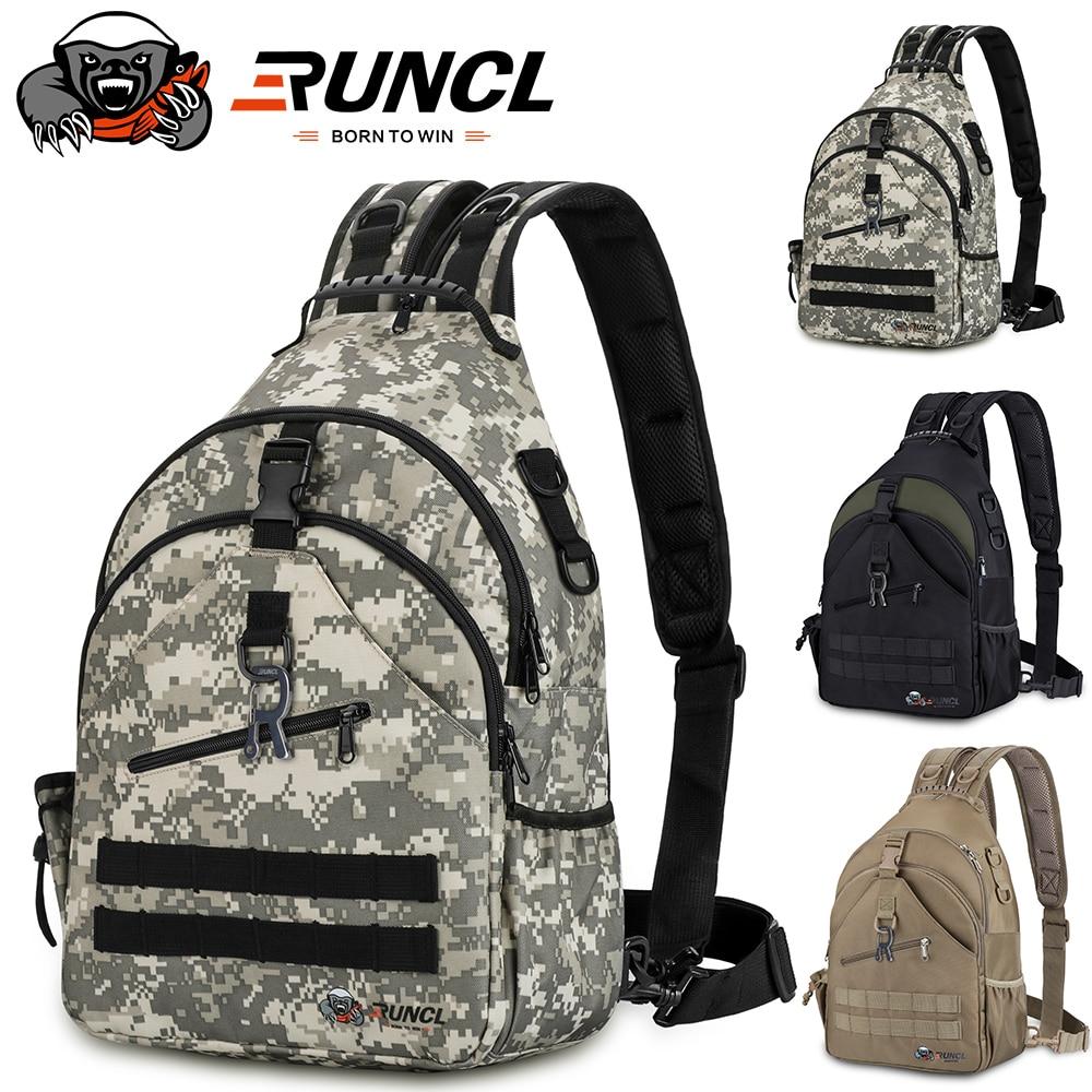 RUNCL 2 in 1 Fishing Gear/Sling Shoulder Bags 840D 900D Nylon Waterproof Rucksacks backpack Camping