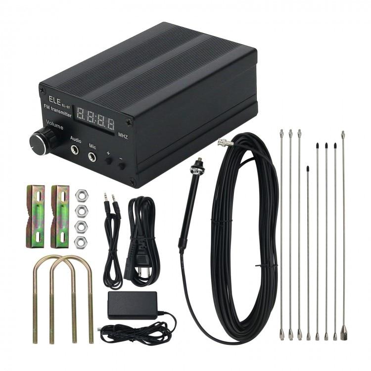 EL-07 5W ستيريو FM الارسال اللاسلكية راديو الارسال الطاقة قابل للتعديل w/في الهواء الطلق هوائي الصوت كابل
