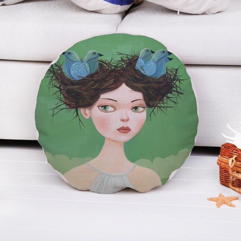 Cartoon Bird Nest  Deer Head Girl One Side Printing Home Decor Sofa Car Seat Decorative Cushion Cover Pillow Case Capa Almofada