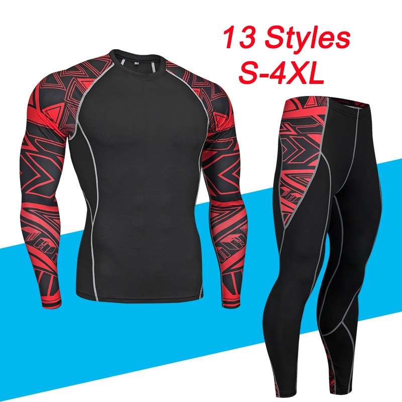 Men's Thermal Underwear Set Motorcycle Base Layer Winter Warm Tight Long Shirts & Tops Bottom Suit t shirts and pants trousers