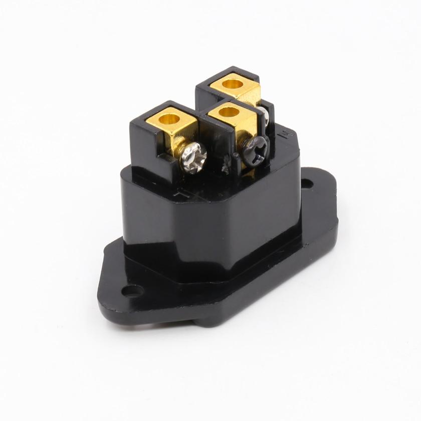 Piezas FI-07 (G) 24K chapado en oro conector IEC toma de entrada de alimentación enchufe de entrada de Panel macho