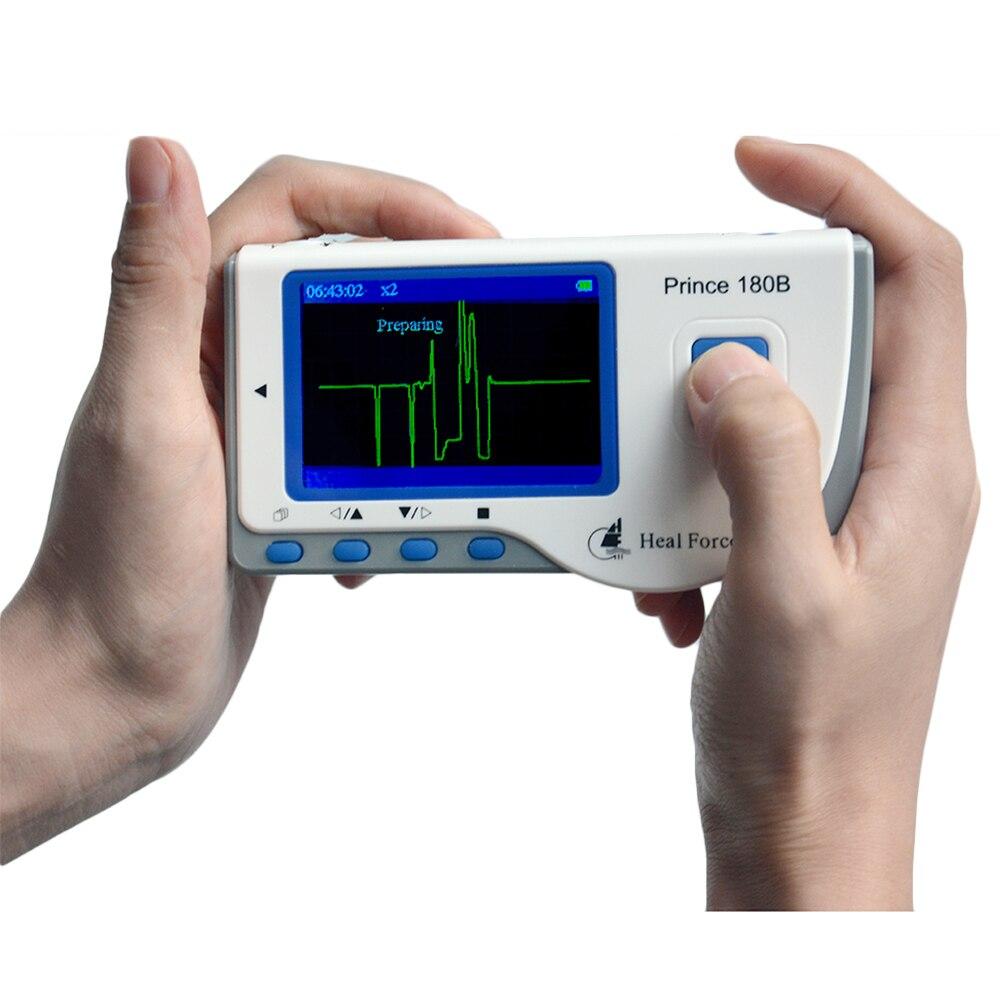 شفاء قوة الأمير 180B المحمولة المنزلية ماكينة عمل مخطط كهربية القلب ECG رصد قياس مستمر ECG LCD شاشة القطب سلك من الرصاص كابل