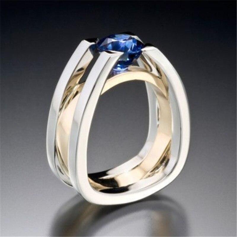 Blaike exquisito dos tono anillos para las mujeres joyería de plata 925 azul circonita compromiso de boda anillo de la joyería regalos de aniversario