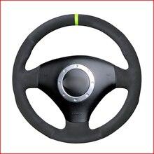 Grren ماركر الأسود الجلد المدبوغ عجلة توجيه سيارة غطاء مرآة مصمم للسيارة أودي A2 8Z A3 8L سبورتباك A4 B6 أفانت A6 C5 A8 D2 TT 8N S3 S4 RS 4 RS