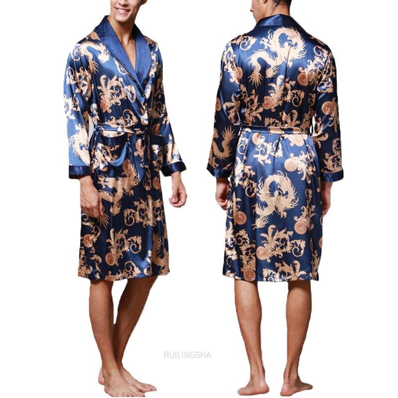 Мода мужчины% 27 халат шелк кимоно длинные рукава халат китайский счастливый дракон принт пижамы мужчины халат халат мужчины домашняя одежда одежда для сна