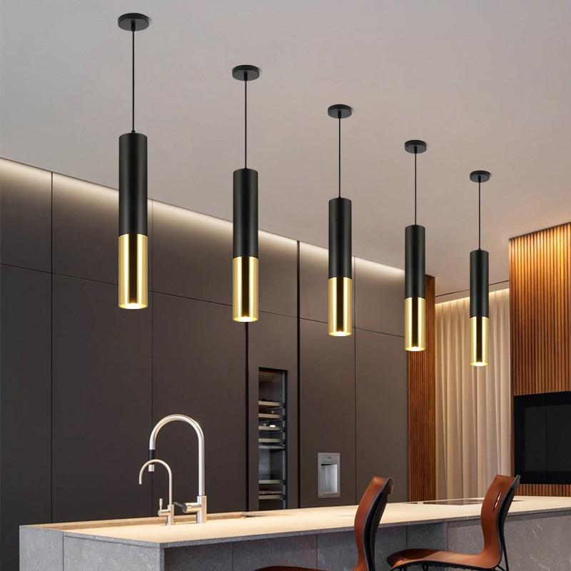 Led downlight surface mounted chandelier restaurant front desk bar round long tube chandelier single head ceiling lamp