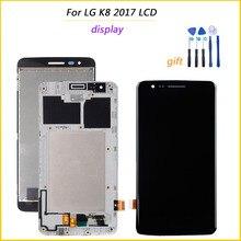 Pantalla 100% probada para LG K8 2017 X240 pantalla táctil LCD con marco piezas de repuesto digitalizador Asamblea