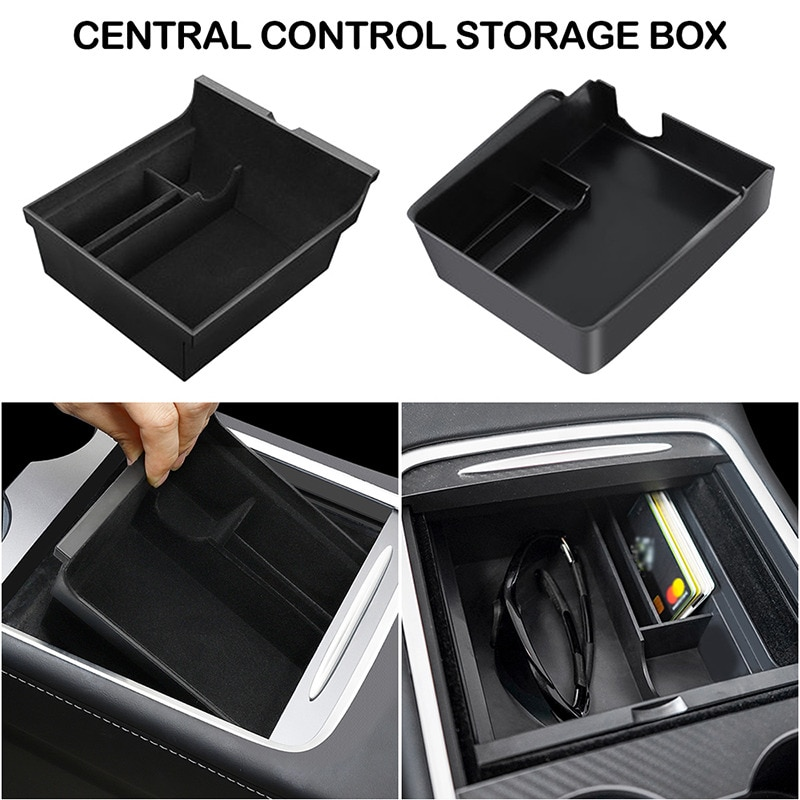Center Storage Box Car Central Armrest Storage Box For Tesla Model 3 Accessories Center Console Flocking Organizer Car Interior
