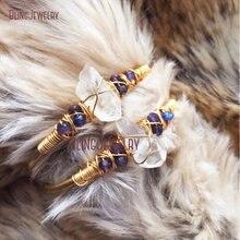 Bracelet à bijoux en pierre de cristal de pierre brute de Quartz bleu à pointe rustique BM27714