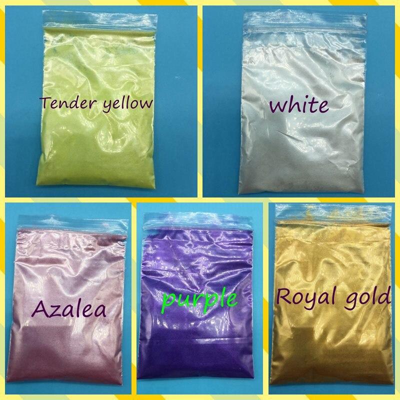 100g mezcla 5 paquetes Blanco, Morado, oro real, ect, polvo de Mica Mineral Natural saludable para el cuidado de la piel del polvo del jabón del maquillaje colorante
