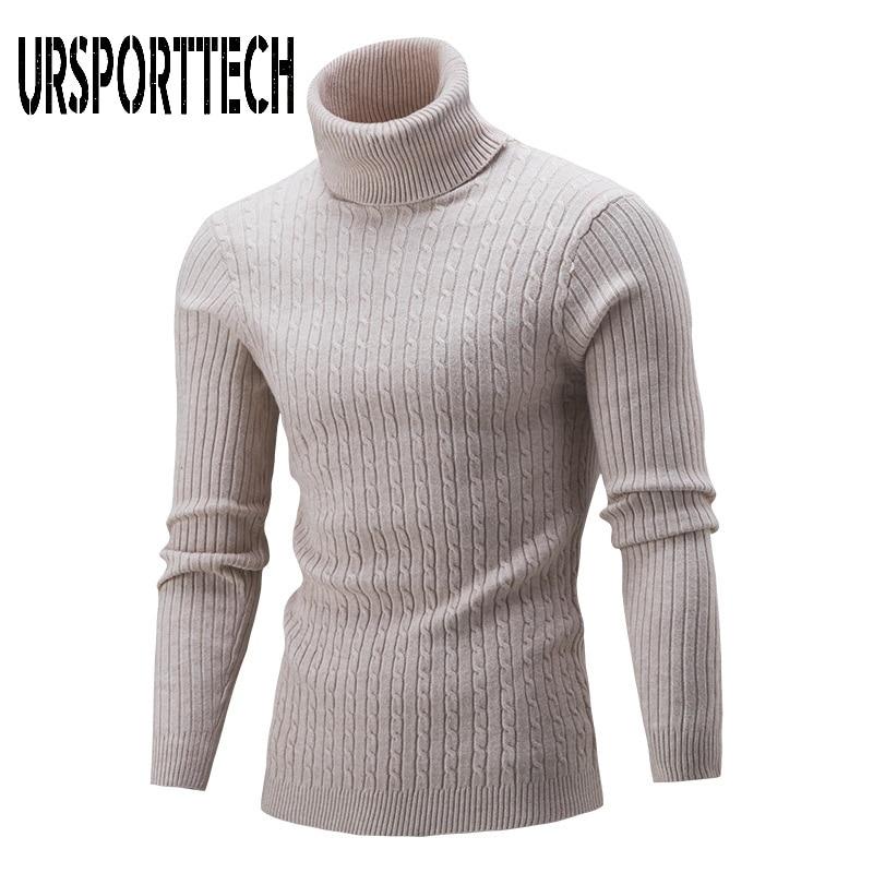 Осенне-зимний мужской свитер с высоким воротником, осенне-зимний модный однотонный вязаный свитер, повседневный мужской облегающий пулове...