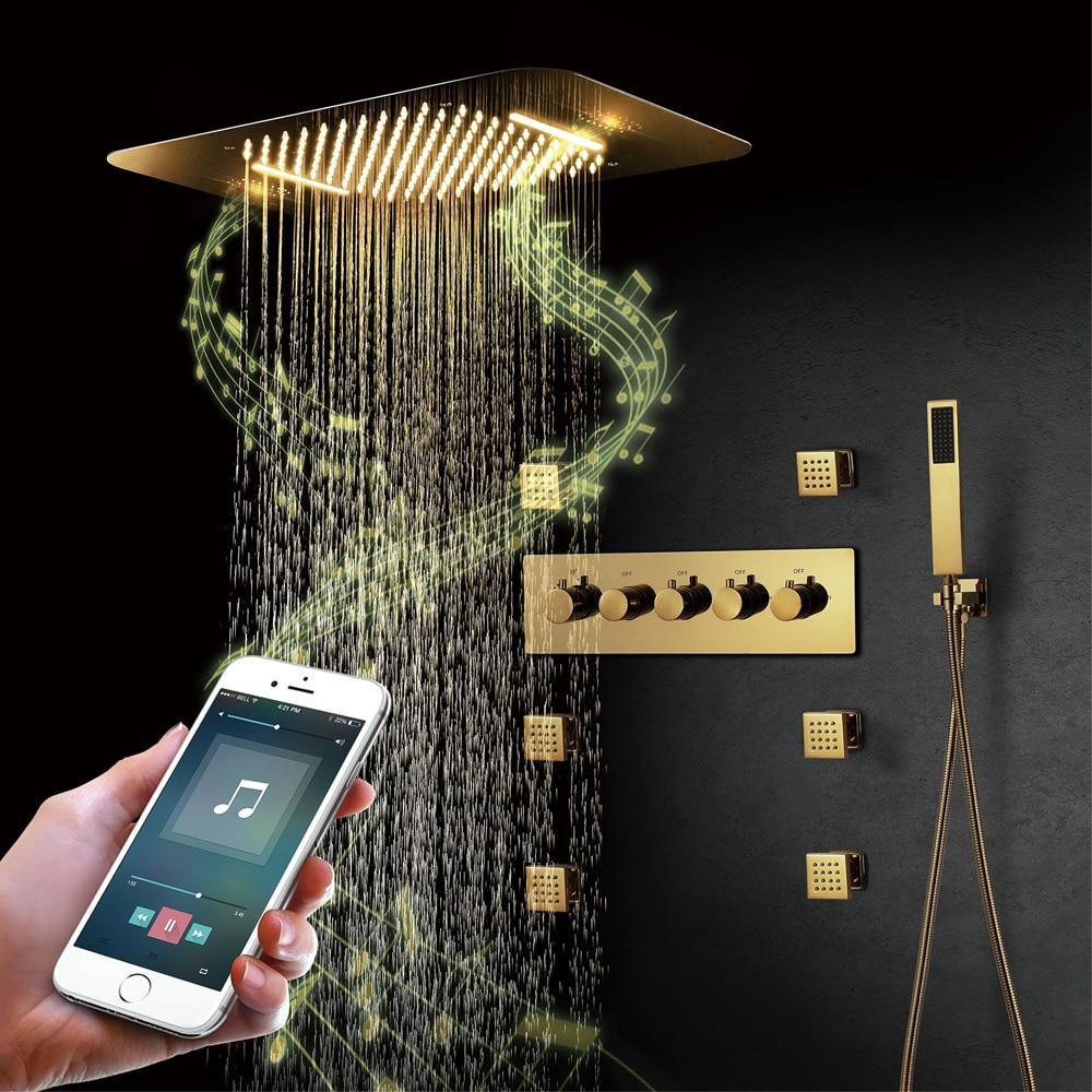 أنظمة دش الموسيقى الذهبية ، رأس دش LED ، صنبور شلال ، ثرموستاتي مخفي ، مكبر صوت