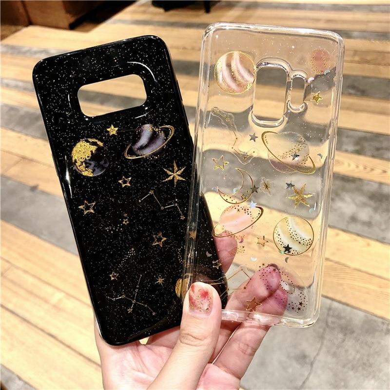 Чехол Shinning Universe Planet для Samsung Galaxy S10 Plus S10e S9 S8 Note 10 9 8 J4 J6 A7 A9 A6 2018 мягкий чехол с блестками Moon Star