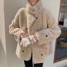 2021 New Korean Fashion Jacket Women Stand Collar Double Breasted Loose Lambswool Solid Color Warm T