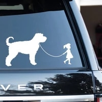 little girl walking labradoodle goldendoodle car stickers automotive decals shop window decoration waterproof dog decal hq196