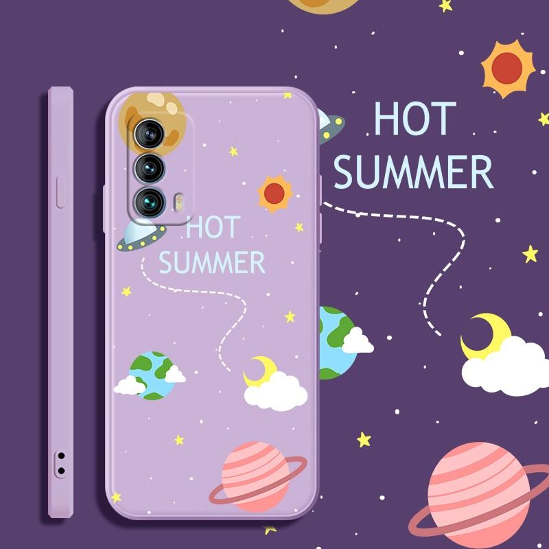 For Meizu 18 Soft TPU Silicone Protective Square Phone Case Colorful Planet Anti-fall Back Cover Fun