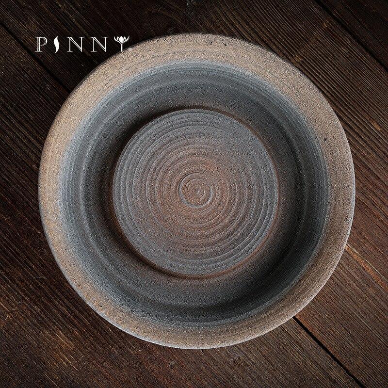 PINNY-صينية شاي ذهبية على الطراز الياباني ، وعاء سيراميك قديم ، الكونغ فو ، محمل يدوي