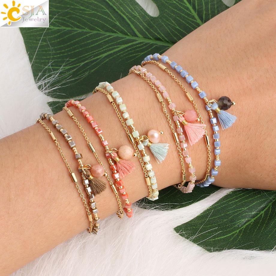 CSJA Gold-color Miyuki Bracelet Beads Tassel Bracelets Femme Fringed Chic Bohemian Jewelry Two Layers Delica Mini  Pulseras S413