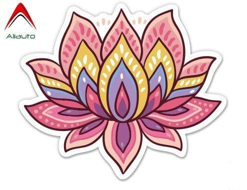 Pegatina de coche creativa Aliauto GT Graphics flor de loto Linda Om Yoga meditación Laptop pegatina impermeable vinilo, 7cm * 7cm