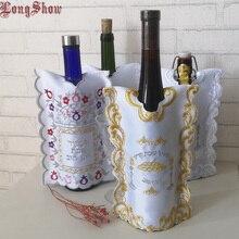 1 lotto 4 pezzi creativi ricamati sacchetti di vino copertura della bottiglia per Shabbat matrimonio compleanno festa festa inaugurazione della casa deposito