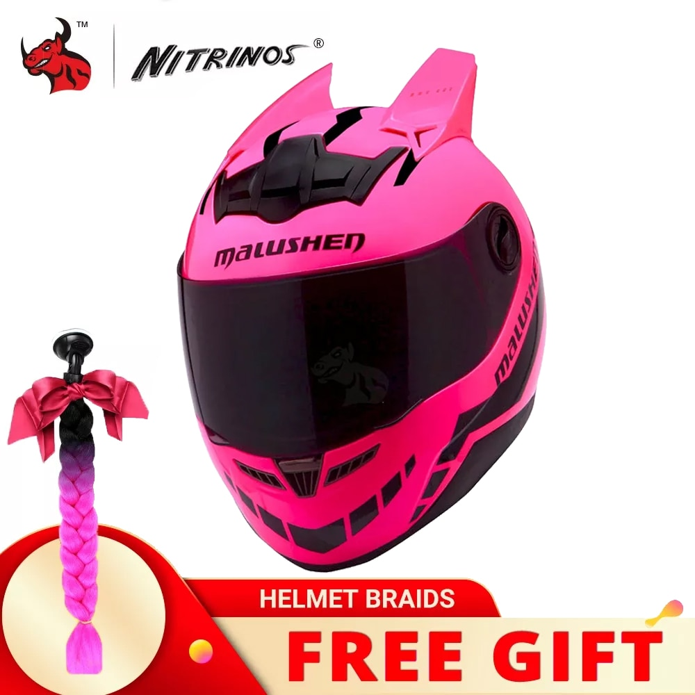 خوذة الدراجة النارية من NITRINOS تغطي كامل الوجه للنساء خوذات الدراجات النارية كاسكو خوذة مبسطة لركوب الدراجات النارية للنساء