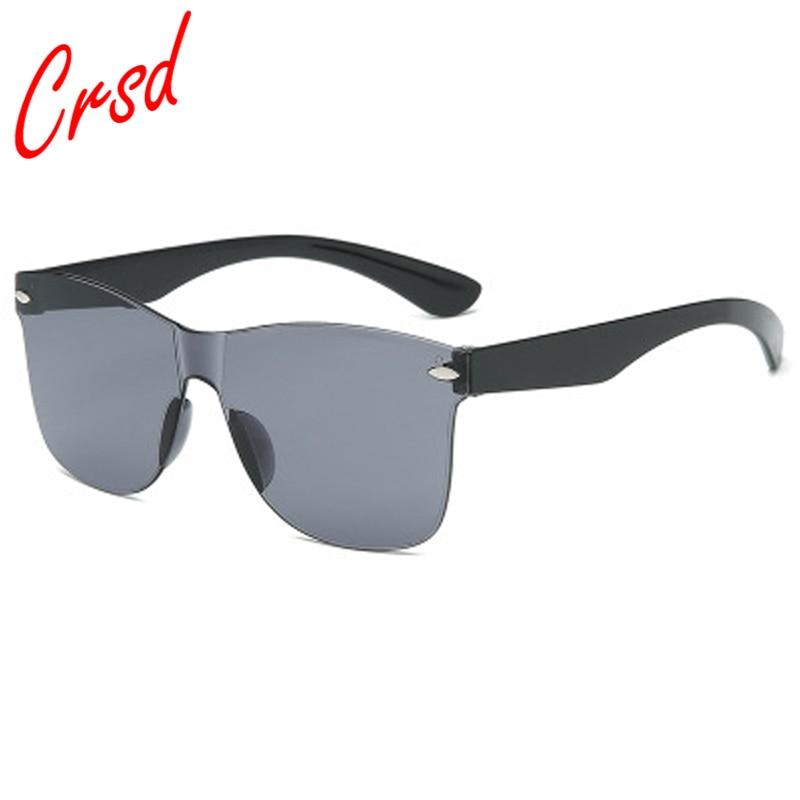 CRSD 2020 Fashion Oversized Rimless Rectangle SunGlasses Women UV400 Eyewear Shades Integrated One P
