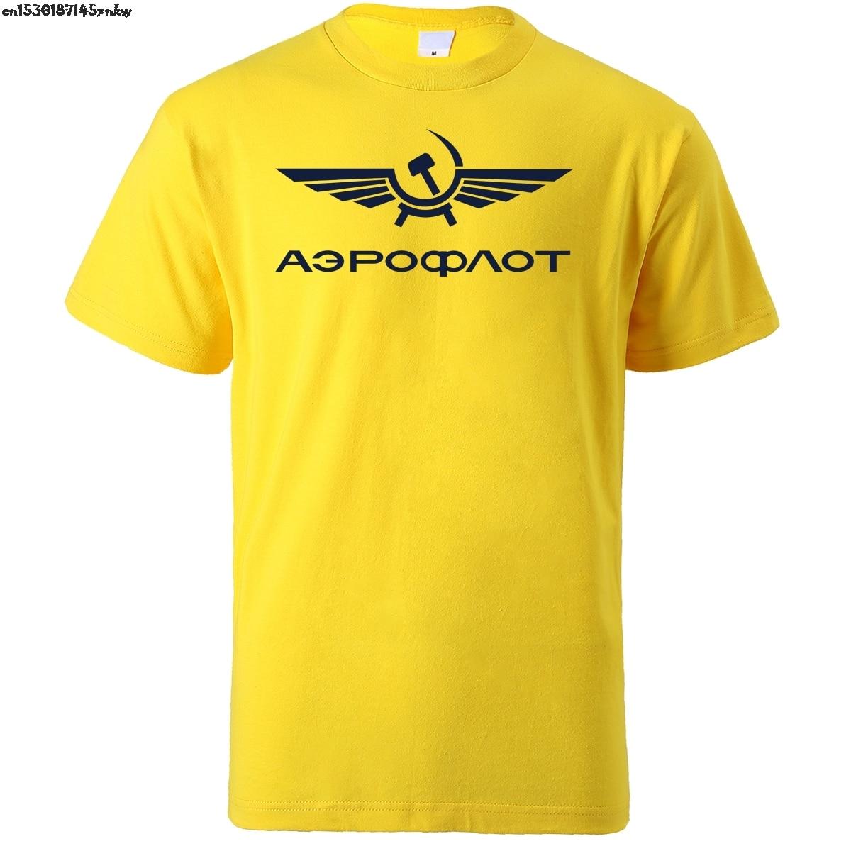 Camiseta Aeroflot CCCP para hombres, ropa de calle de la Fuerza Aérea de Rusia Ussr de aviación Civil, camisetas para hombre de verano 2020, camisetas de algodón Hip Hop P