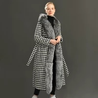 new fashion autumn winter 2021 cashmere wool coat long real silver fox fur collar luxury women wool trench with belt