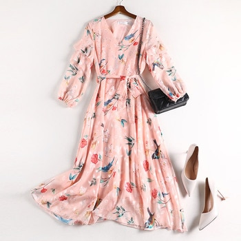 New Style Chubby Sister Mm Waist Hugging Slimming Early Autumn 2020 New Style Large Size Dress Chiffon Dress