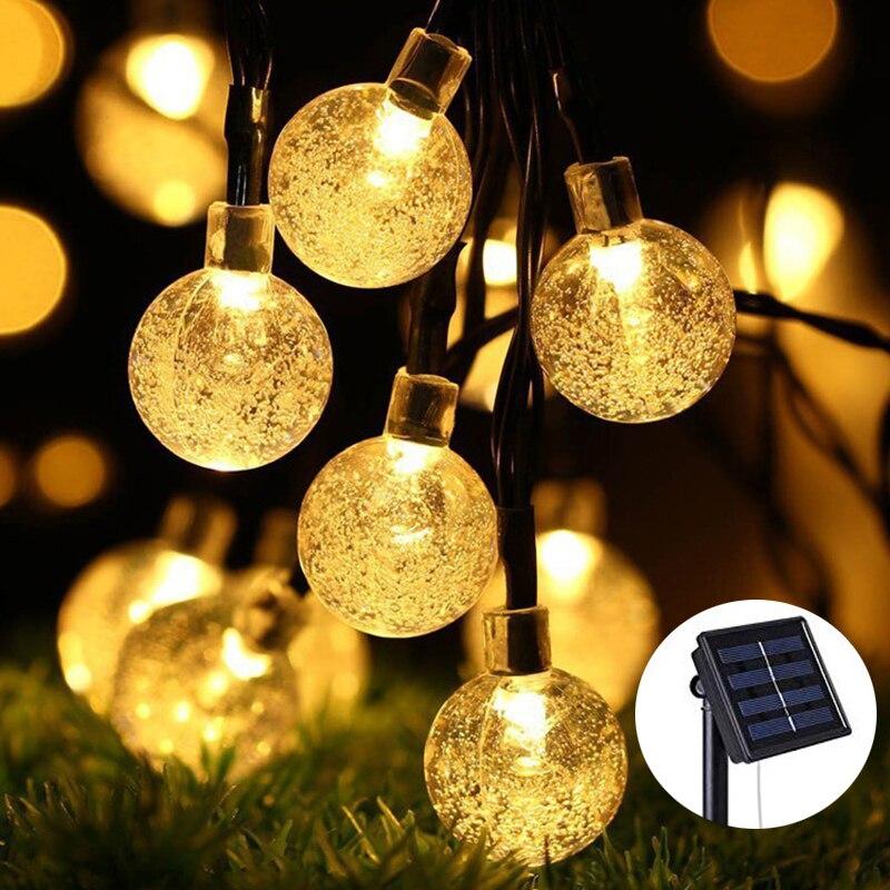 Solar Lamp Crystal Ball LED String Lights Christmas Wedding Decoration Light Outdoor Waterproof Garden Garlands Night light