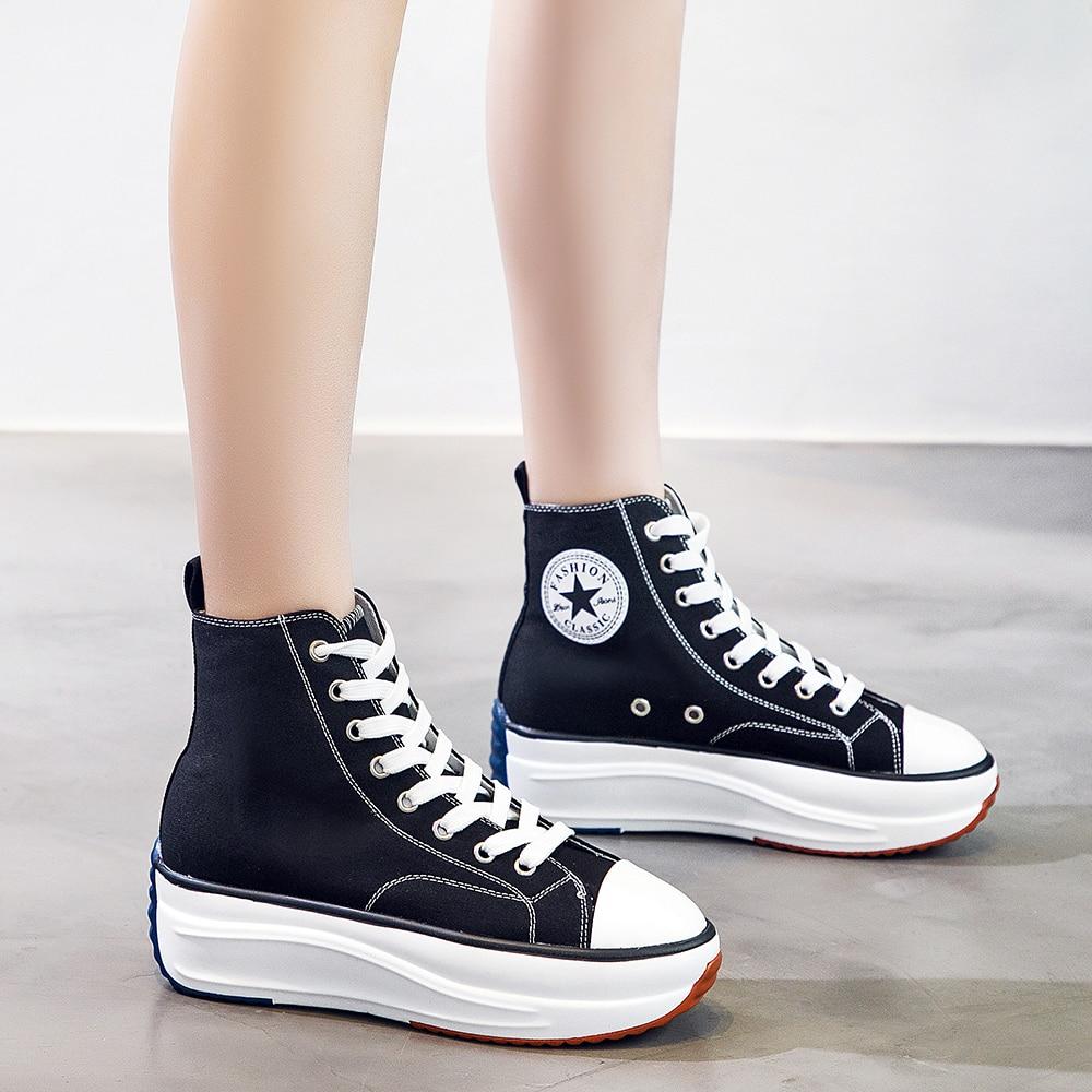 U-DOUBLE ماركة كبيرة الحجم 43 حذاء قماش المرأة موضة عالية كبار أحذية رياضية الربيع الإناث الأحذية مضخات منصة أحذية مفلكنة