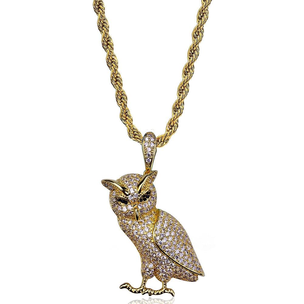 Colgante de búho con circonita helada, collar de joyería de oro, plata, cobre, Material Bling AAA CZ, colgante de cadera para hombres para mujeres